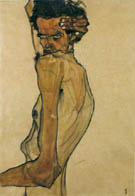 Egon Schiele : Self-Portrait with Twist Arm 1910 : $279