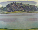 Ferdinand Hodler : Lake Thun and the Stockhorn Mountains 1910 : $275