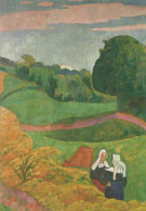 Emile Bernard : Landscape with two Breton Girls 1892 : $275