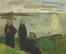 Emile Bernard : Woman on the Cliffs St Briac 1888 : $275