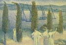Henri Edmond Cross : Nocturne with Cypresses 1896 : $279