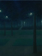William Degouve de Nuncques : Night Scene in the Parc Royal in Brussels 1897 : $275